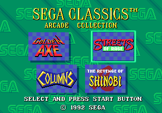 Sega Classics Arcade Collection 4-in-1 menu
