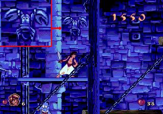 Обречённый краб Себастьян в игре Aladdin